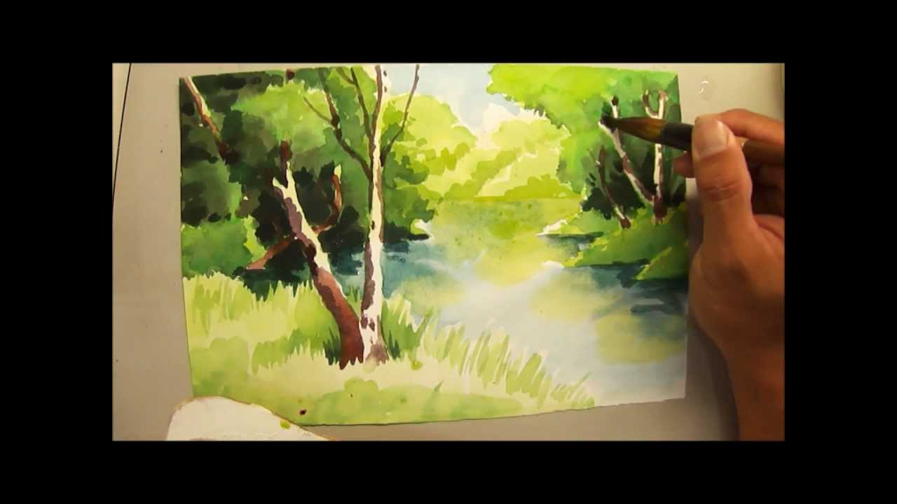 Watercolour Painting Of Trees And River