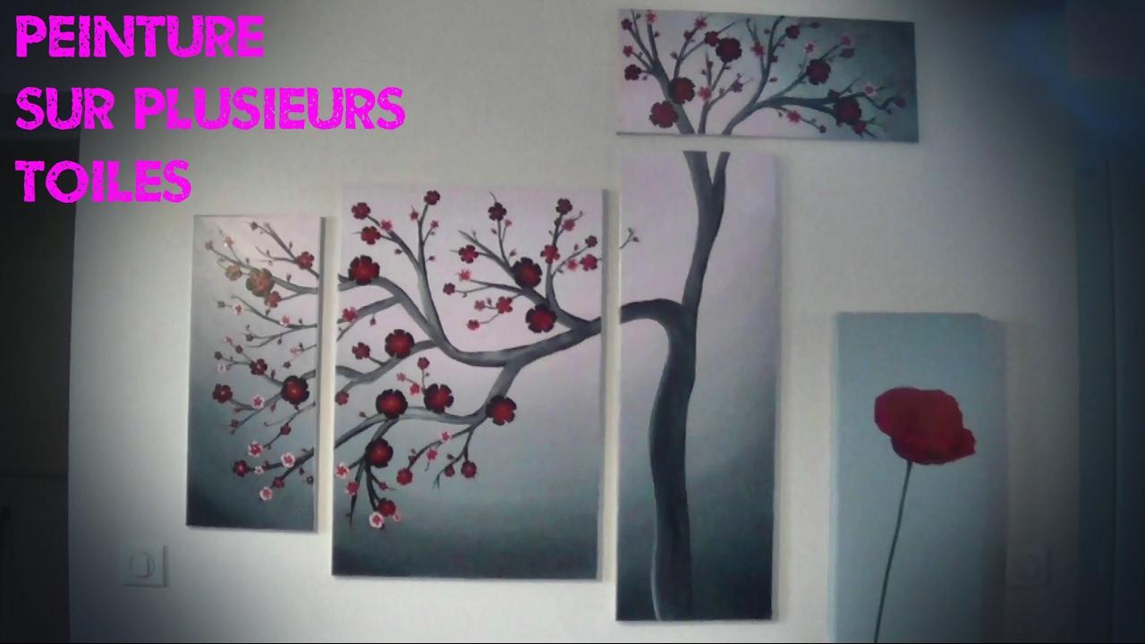 Peinture Sur Plusieurs Toiles Arbre à Fleurs Youtube