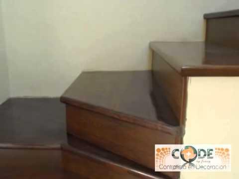 Escaleras de madera y piso laminado youtube for Pisos para escaleras de concreto
