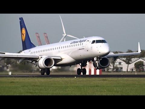 Lufthansa Regional - Embraer 195 - Landing & Takeoff at AMS (D-AEMD + D-AEBR)