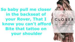 "Lyrics to ""Closer"" by the Chainsmokers ft. Halsey iTunes: http://sm..."