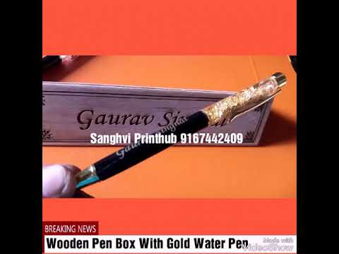 Customize Wooden Pen Box With Gold Water Pen