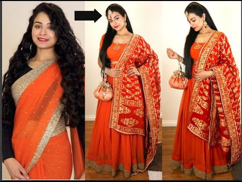 No Sew DIY | How to make Lehenga from Old Saree | How to wea