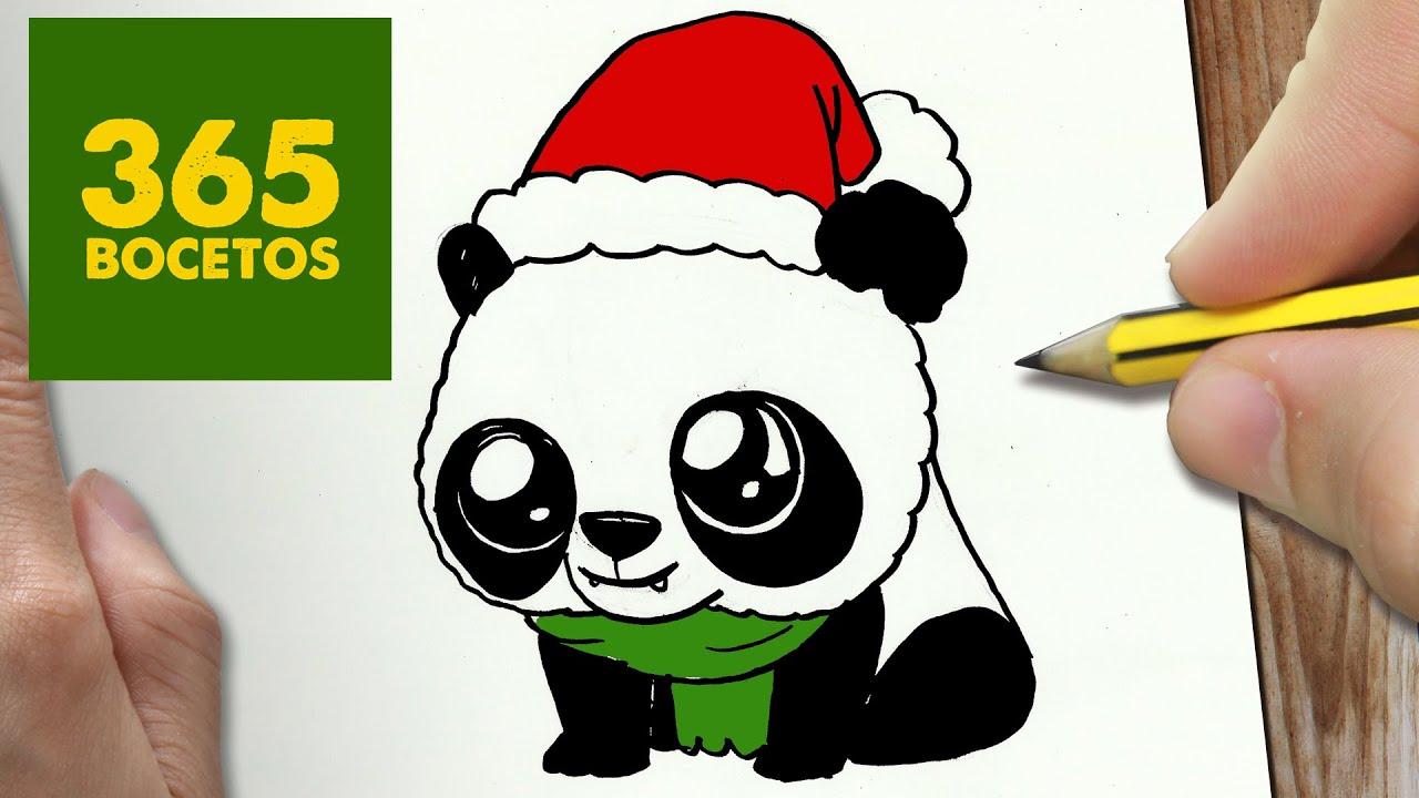 COMO DIBUJAR UN PANDA PARA NAVIDAD PASO A PASO Dibujos kawaii