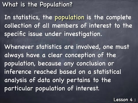 Lesson 4 : What is the Population?