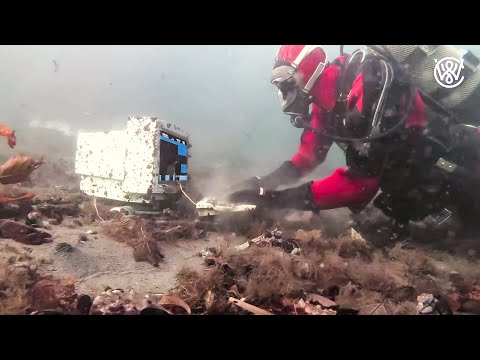Found computer and boat motor underwater while scuba diving in the river