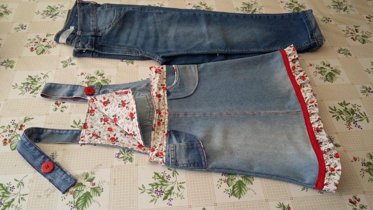 Como transformar vestido jeans em jardineira