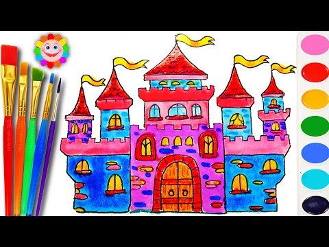Thumbnail: How to Draw and Color a Castle House for Kids | Coloring Book with Water Color for Kids