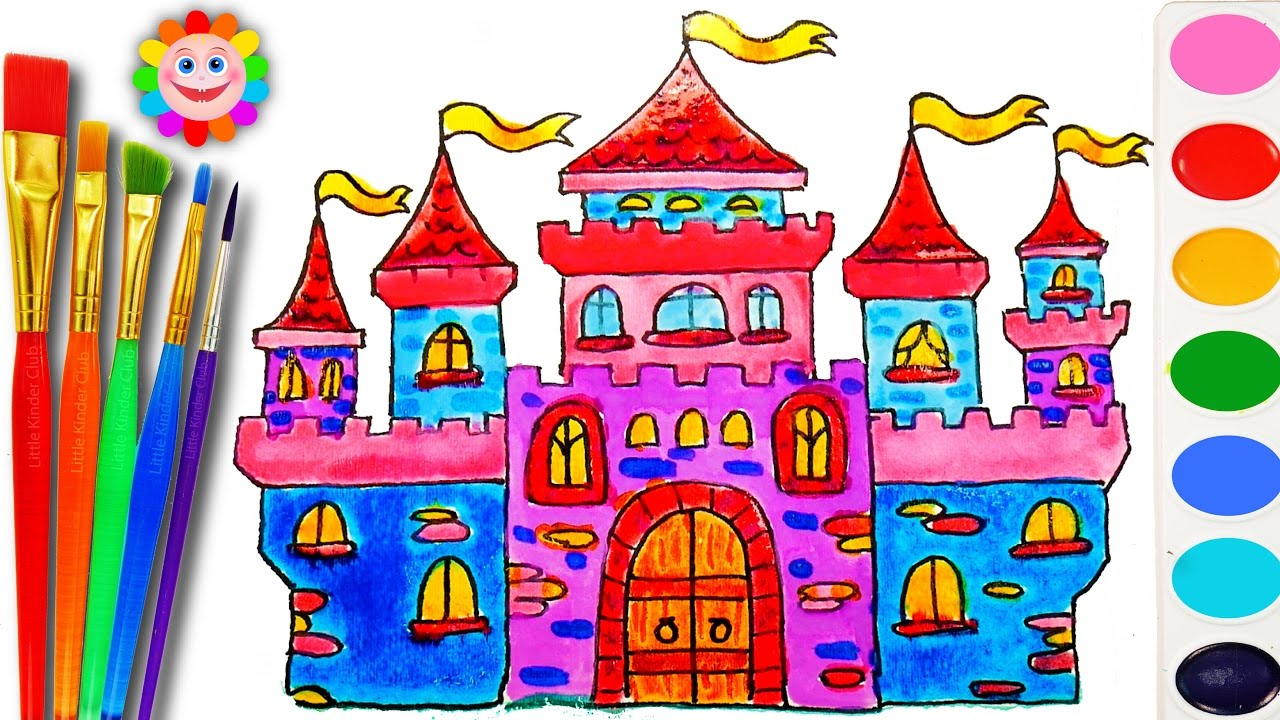how to draw and color a castle house for kids coloring book with water color for kids - Drawing And Colouring Pictures For Kids