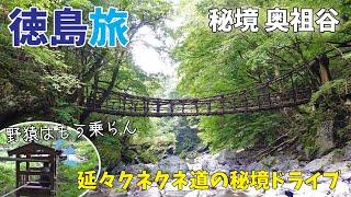[ 徳島県 1泊2日の旅 ] #1 日本三大秘境にある『 奥祖谷の二重かずら橋 』へ♪ ~ 酷道で山越えをし、天空の村・かかしの里を抜け、秘境感満載の奥祖谷へ ~