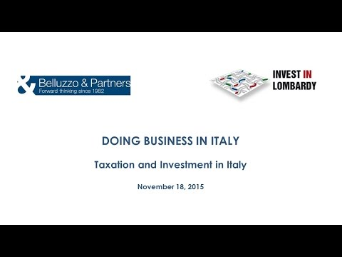 Webinar Doing business in Italy: TAXATION AND INVESTMENTS IN ITALY