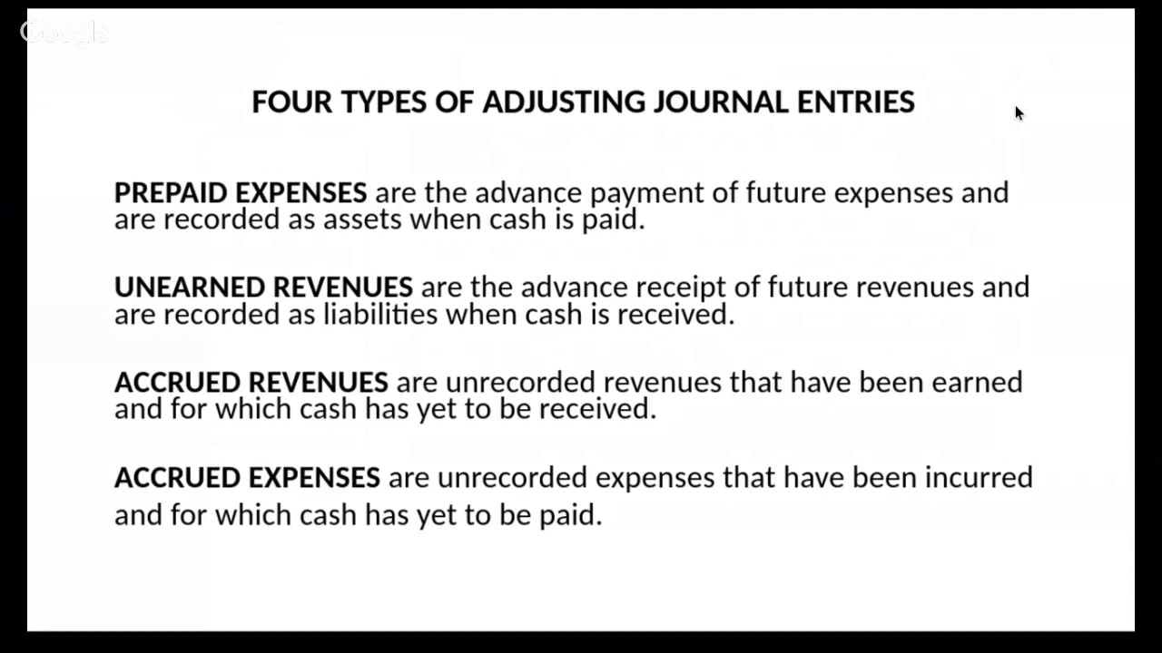 four types of adjusting entries The purpose of adjusting entries is to ensure that all revenue and expenses from the period are recorded many adjusting entries deal with balances from the balance sheet, typically assets and liabilities, that must be adjusted.