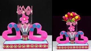 Plastic Bottle Showpice and Flower Vase   Plastic Bottle Easy Craft Ideas for Home Decor