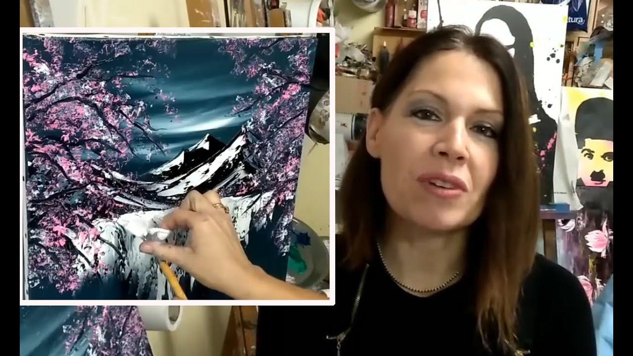 Cours De Peinture Au Couteau Facile Cascade Et Cerisiers Japonais