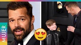 Ricky Martin y su hijo se robaron la alfombra roja en los Grammy