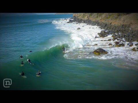 Drone Films A Surfer Just Missing Rocks In Tasmania