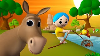 The Donkey and Fisherman 3D Animated Hindi Moral Stories for Kids गधा और उसके मछुआरा कहानी Tales