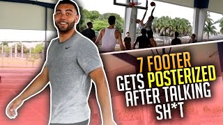 7ft Trash Talker Got DUNKED ON At The Park & HE Was PISSED ! (Mic'd Up)