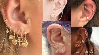 latest multiple earrings for women in gold||upper ear earrings/Cartilage Earrings