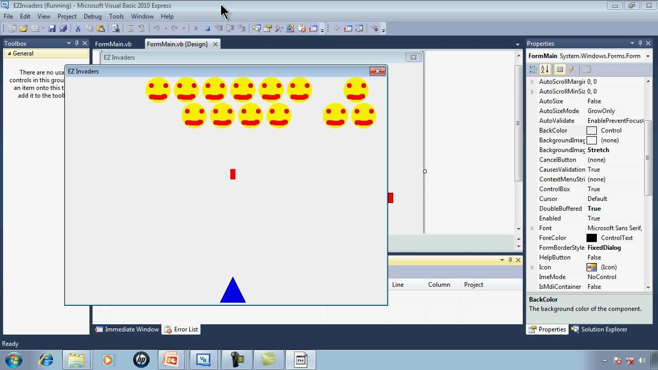 Visual Basic Express 2010 Tutorial 32 EZInvaders Part 1 Simple ...