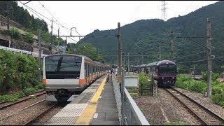 臨時快速「お座敷青梅 奥多摩号」 和式電車「華」 青梅線 御嶽駅 JR Ōme Line Mitake Station (2018.7.22)