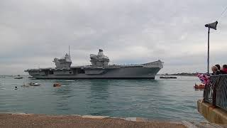 HMS Queen Elizabeth Arriving at her home port Portsmouth for the  first time 16th Aug 2017