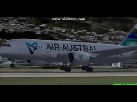 Air Austral B787 Saint Denis Roland Garros Airport FMEE Landing FS9