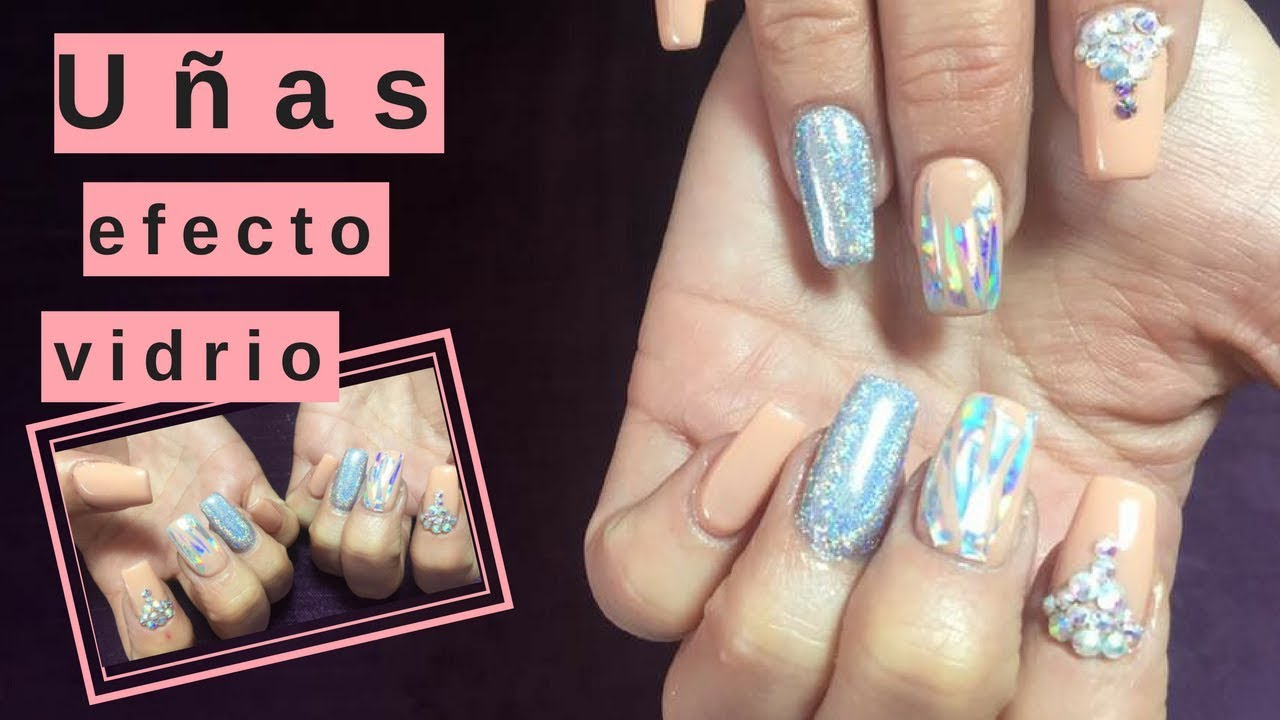 Uñas efecto vidrio| nails| Dulce floresB - YouTube