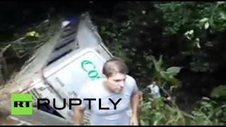 RAW: Bus falls 400m into ravine in Brazil