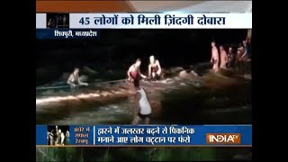Madhya Pradesh: Over 50 people washed away during picnic at Shivpuri waterfall, 45 rescued