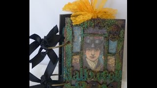 Altered Halloween Wood Window Album Finished Project