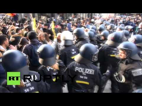 Protesters clash with police at anti-Turkey rally in Frankfurt