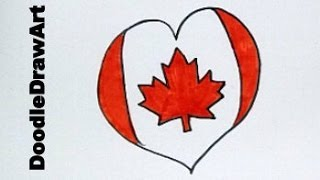 Happy Canada Day! - Draw A Canadian Maple Leaf Heart Flag!
