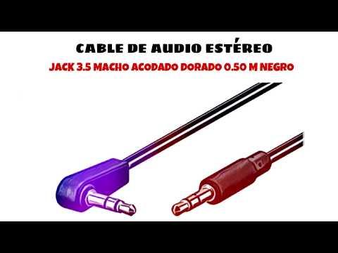 Video de Cable de audio estereo jack 3.5 macho acodado dorado 0.50 M Negro