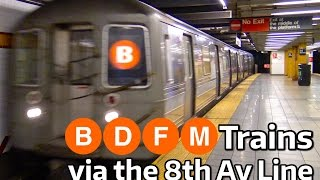 ⁴ᴷ B, D, F, & M Trains Running on the 8th Avenue Line