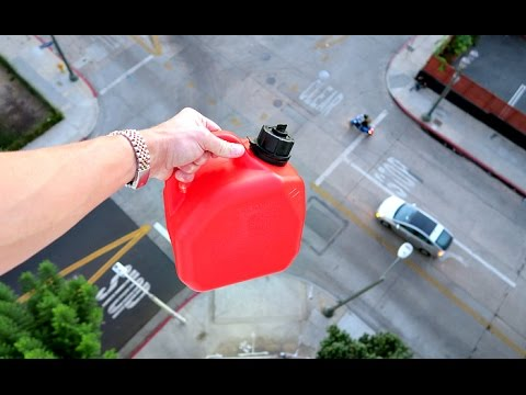 WILL A GALLON OF GAS BLOW UP FROM 100FT DROP? UNBELIEVEBLE!!!
