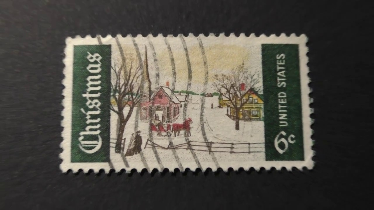 Postage Stamp USA CHRISTMAS Winter Morning In The Village Price 6 Cents