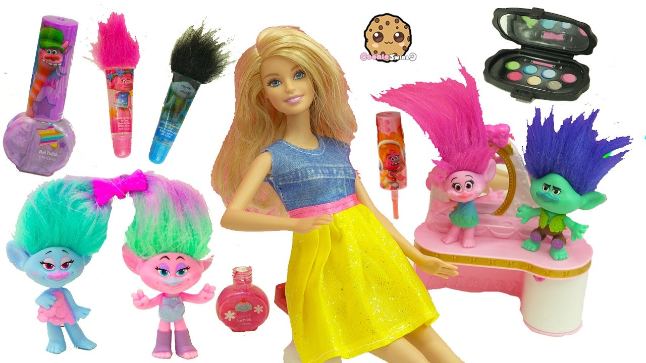 Download Trolls Poppy, Branch, Satin and Chenille Give Barbie & Shopkins Makeovers