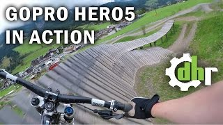 GoPro Hero5 Black: Mountain Bike Park Leogang. Video Stabilization, Wind Noise(First time in the bike park with my GoPro Hero5 Black. I tested the wind noise and how the built in digital video stabilization works. I also wanted to ride most of ..., 2016-10-08T23:56:54.000Z)