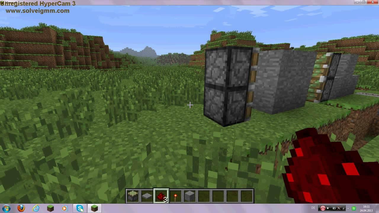 minecraft vollautomatische redstone t r bauen youtube. Black Bedroom Furniture Sets. Home Design Ideas