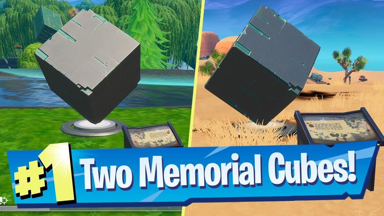 Visit Cube Memorials In The Desert And By A Lake Locations Fortnite Worlds Collide Challenge