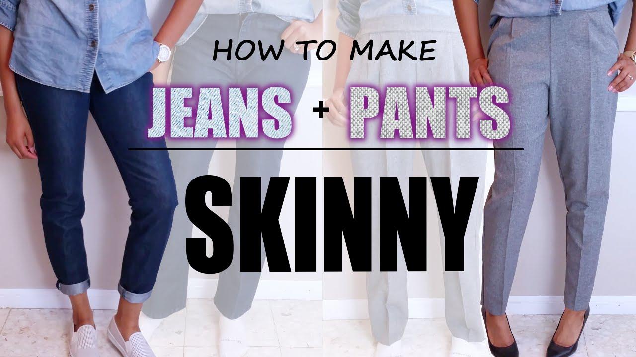 How To Make Jeans Pants Skinny Diy Sewing Blueprintdiy Youtube