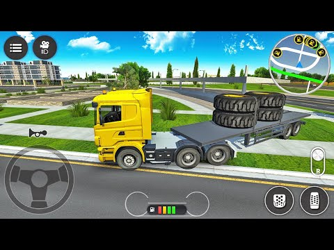 Trailer Truck Transporting Heavy Duty Tires - Construction Simulator 2021 - Android Gameplay |