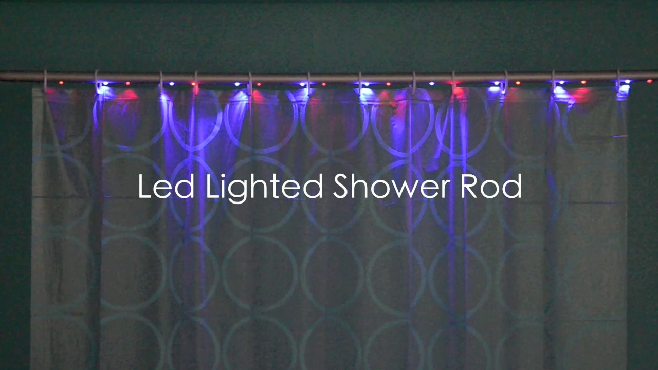 LED Lighted Shower Rod Lit Curtain Remote Control For