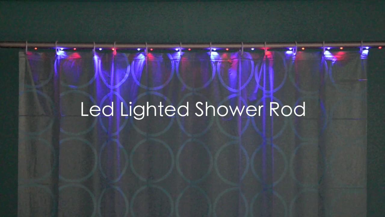 LED Lighted Shower Rod ( LED-Lit Shower Curtain Rod & Remote Control ...