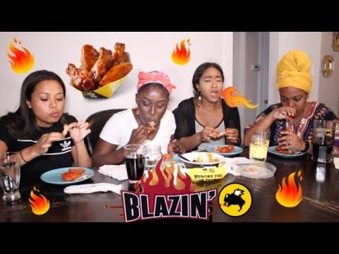 BLAZIN HOT BUFFALO WILD WINGS CHALLENGE!!!!! (5 wings in under 4 minutes!)