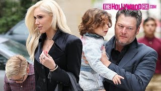 gwen stefani blake shelton arrive to mothers day church service together with the kids 51318