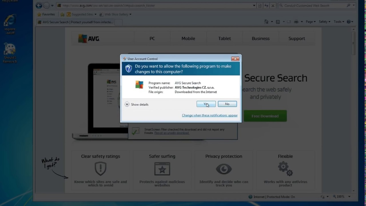 how to delete avg secure search