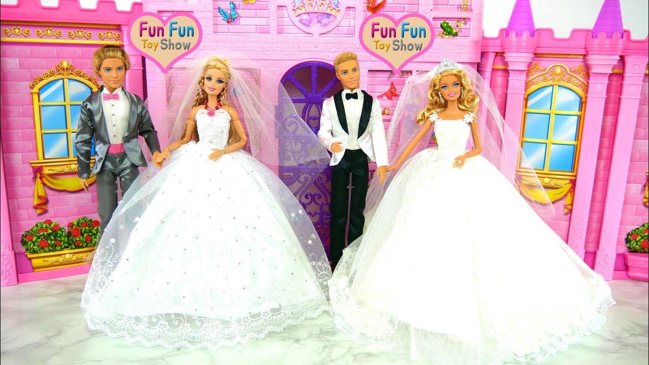 Two Barbies and Kens Wedding Shop Shopping Gaun pengantin boneka Barbie  Puppe Hochzeitskleid