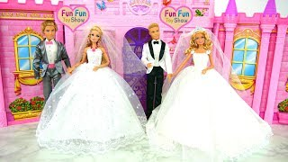 Two Barbies and Kens Wedding Shop Shopping Gaun pengantin boneka Barbie Puppe Hochzeitskleid